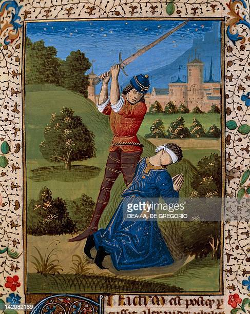 Decapitation miniature from the Bible of Pope John XXII Latin manuscript from the Palace of the Popes of Avignon folio 124 recto France 15th Century