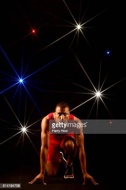 Decathlete Ashton Eaton poses for a portrait at the 2016 Team USA Media Summit at The Beverly Hilton Hotel on March 7 2016 in Beverly Hills California