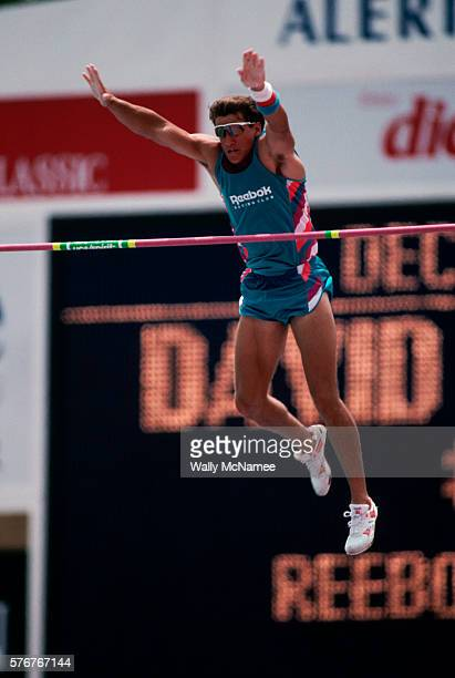 Decathlete Dave Johnson clears the bar in the pole vault event in the decathlon at the Olympic Trials Johnson was the winner of the Decathlon and...