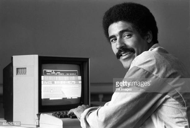 Decathlon World recordholder Daley Thompson at the Carlton Tower Hotel where he saw for himself a computer game that offered players the chance to...