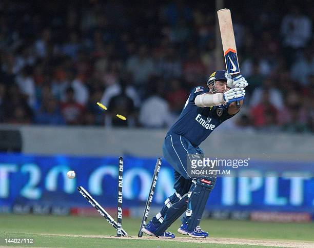 Deccan Chargers Batsman Parthiv Patel is bowled out by Kings XI Punjab bowler Parvinder Awana during the IPL Twenty20 cricket match between Deccan...