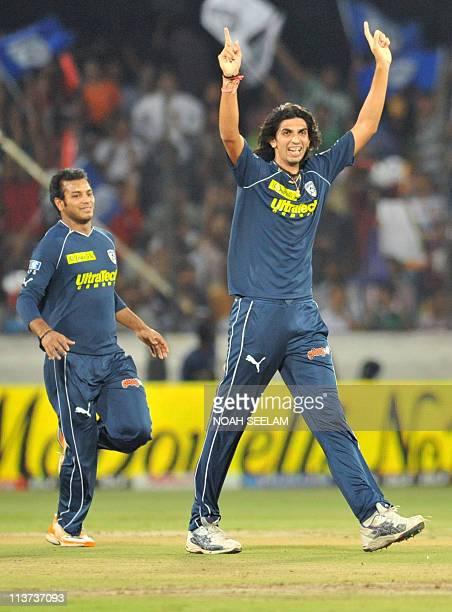 PACKAGE Deccan Chargers' bowler Ishant Sharma celebrates the wicket of Delhi Daredevils' batsman Y Venugopal Rao during the IPL Twenty 20 cricket...