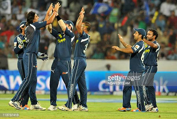 Deccan Chargers bowler Ishant Sharma celebrates the wicket of Venugopal Rao of Delhi Daredevils during the IPL Twenty 20 cricket match between Deccan...