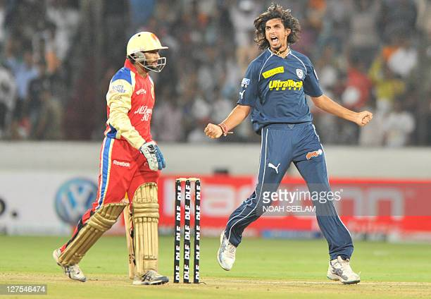 Deccan Chargers' bowler Ishant Sharma celebrates the wicket of Tilakaratne Dilshan during the IPL twenty 20 match between Deccan Chargers and Royal...