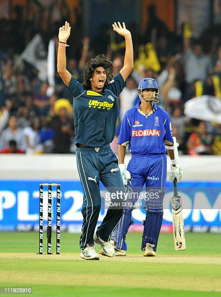 Deccan Chargers bowler Ishant Sharma unsuccessfully appeals against Rajasthan Royals player Rahul Dravid during the IPL Twenty20 cricket match...