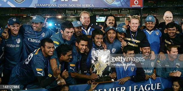 Deccan Chargers team lifts trophy of IPL 2 T20 tournament at Wanderers Cricket Ground on May 25 2009 in Johannesburg South Africa