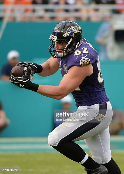 December 06 2015 Baltimore Ravens tight end Nick Boyle on a pass from quarterback Matt Schaub NIP during the first half in a game between the Miami...