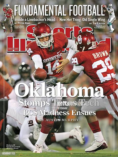 December 1 2008 Sports Illustrated Cover College Football Oklahoma QB Sam Bradford in action making handoff to Chris Brown during game vs Texas Tech...