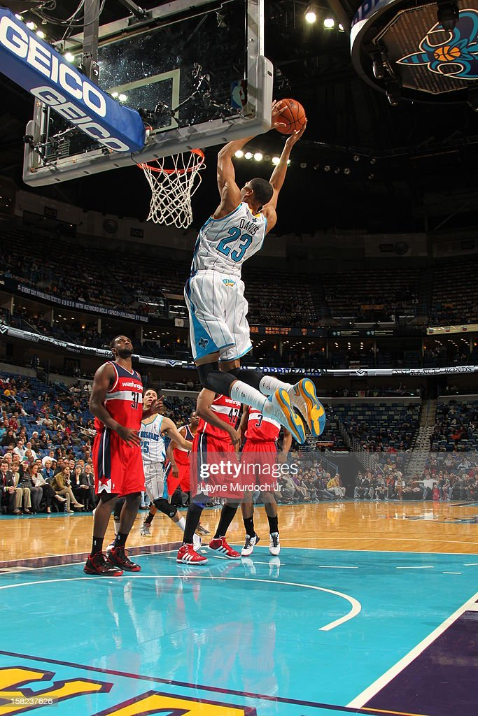 Anthony Davis #23 of the New Orleans Hornets goes up for the dunk against the Washington Wizards on December 11, 2012 at the New Orleans Arena in New Orleans, Louisiana.