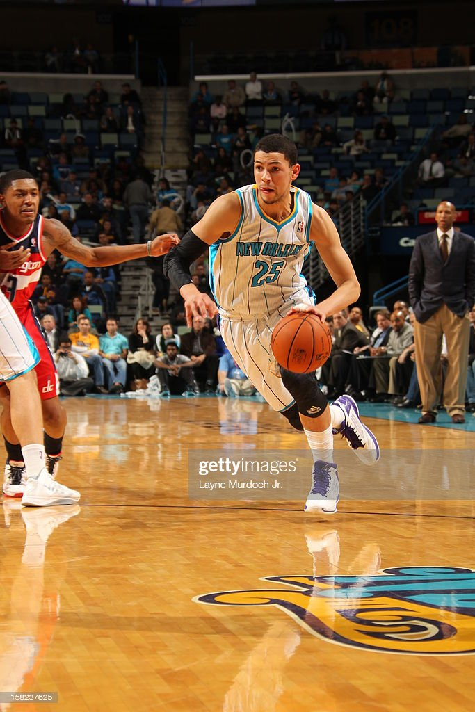<a gi-track='captionPersonalityLinkClicked' href=/galleries/search?phrase=Austin+Rivers&family=editorial&specificpeople=7117574 ng-click='$event.stopPropagation()'>Austin Rivers</a> #25 of the New Orleans Hornets dribbles the ball against the Washington Wizards on December 11, 2012 at the New Orleans Arena in New Orleans, Louisiana.
