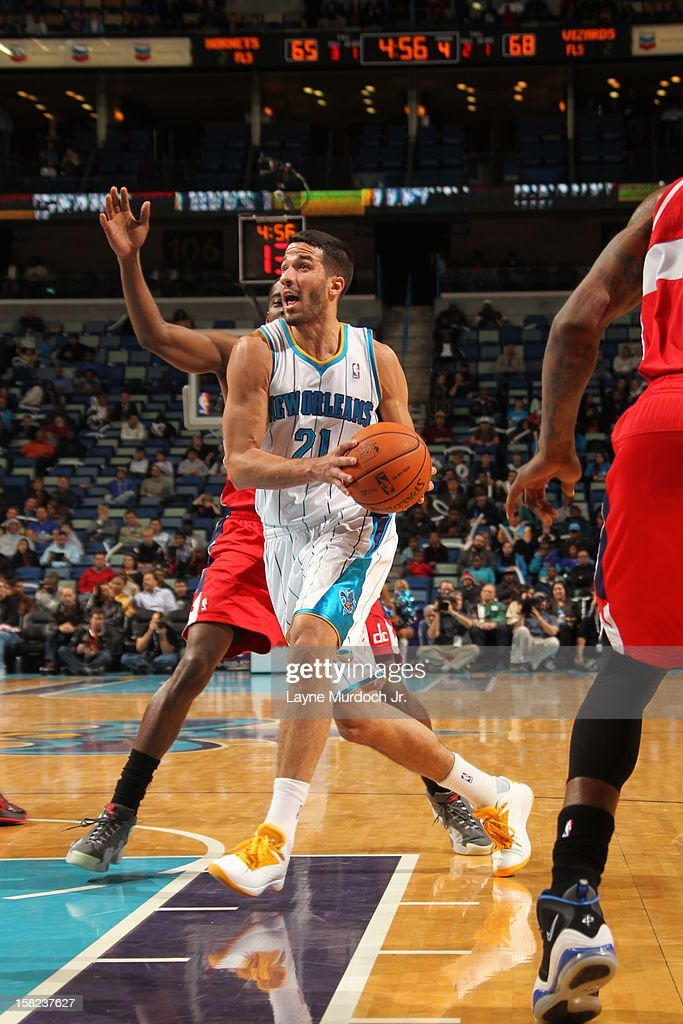 Greivis Vasquez #21 of the New Orleans Hornets goes up for the shot against the Washington Wizards on December 11, 2012 at the New Orleans Arena in New Orleans, Louisiana.
