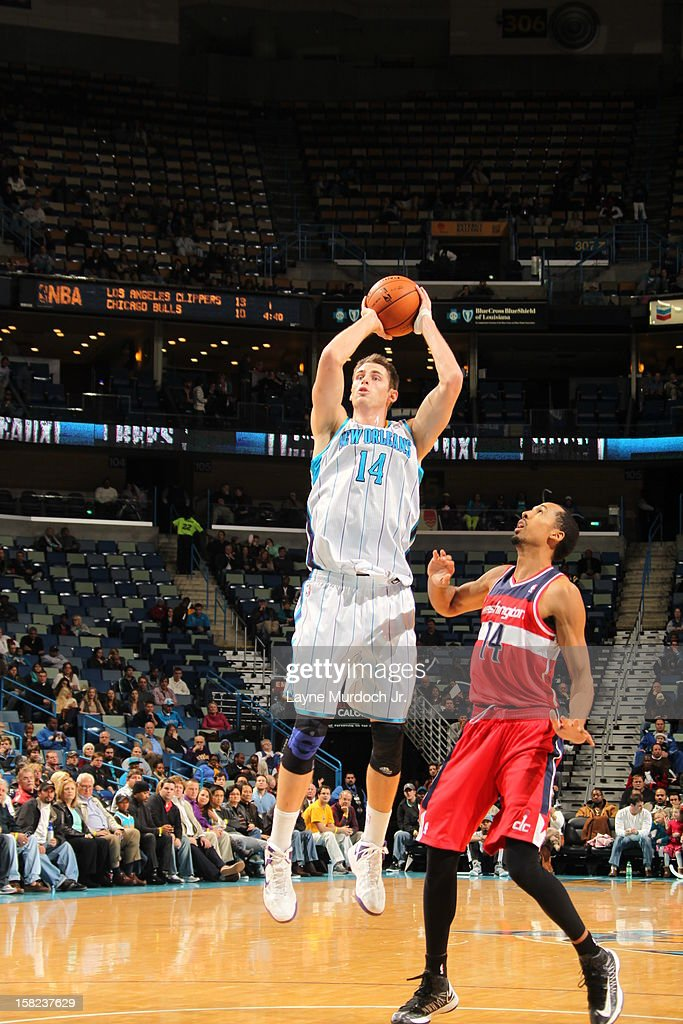 Jason Smith #14 of the New Orleans Hornets shoots the ball against the Washington Wizards on December 11, 2012 at the New Orleans Arena in New Orleans, Louisiana.