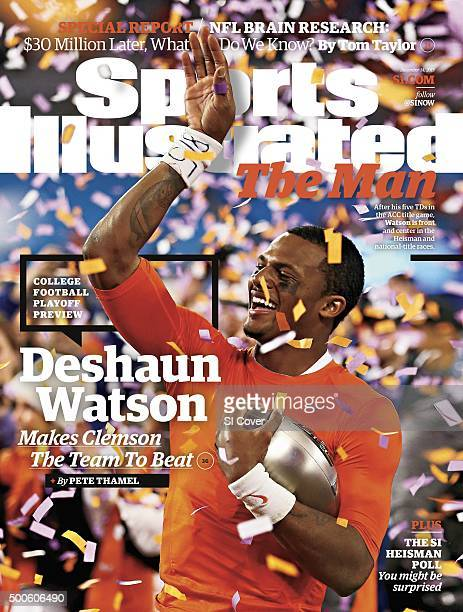 December 12 2015 Sports Illustrated Cover ACC Championship Clemson QB Deshaun Watson victorious with trophy after winning game vs North Carolina at...