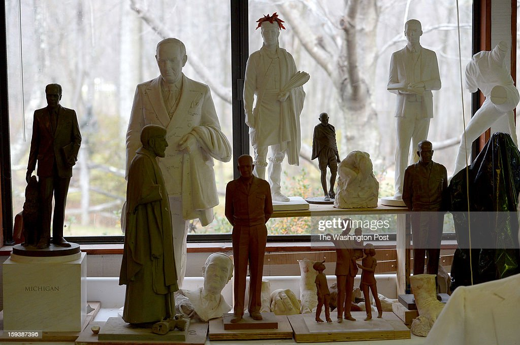 Some of the small scale sculptures by Toby Mendez in his studio on December 12, 2012 in Knoxville, MD