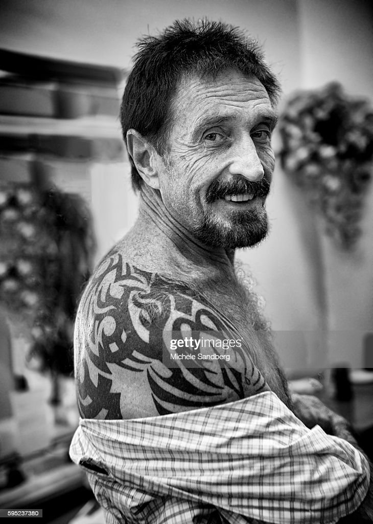 December 13 2012 John McAfee Showing his tattoo at the Beacon Hotel where he is staying after arriving from Guatemala on December 13 2012 in Miami...