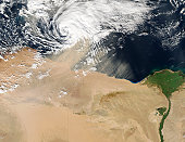 December 15, 2005 - Satellite view of a dust storm over Egypt.
