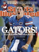 December 15 2008 Sports Illustrated Cover College Football SEC Championship Florida QB Tim Tebow yelling from sidelines during game vs Alabama...