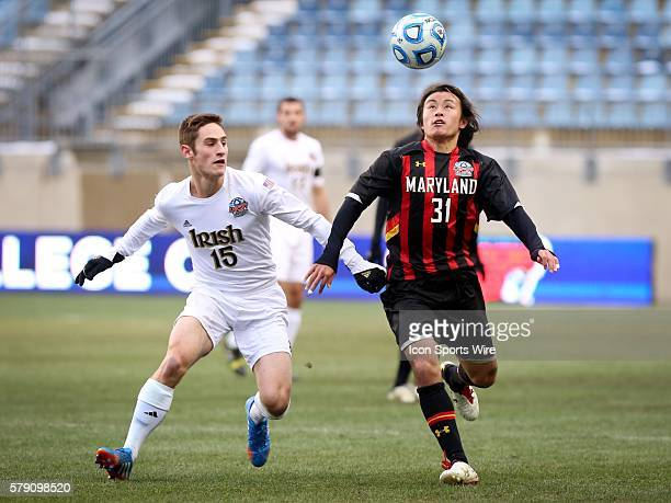 Notre Dame Fighting Irish Evan Panken and Maryland Terrapins Tsubasa Endoh compete for the ball during the NCAA division 1 College Cup Championship...