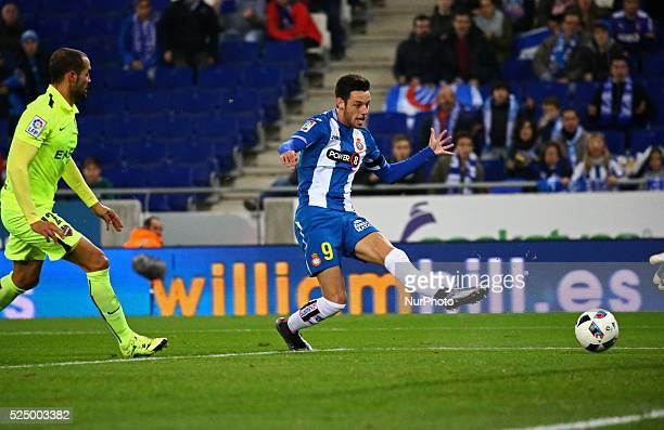 Burgui goal during the match between RCD Espanyol and Levante UD corresponding to que round 4 of the spanish King Cup played at the Power8 Stadium in...