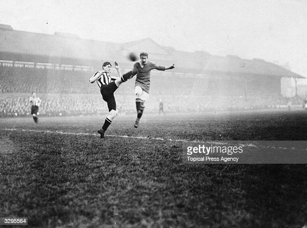 The footballer Halse of Chelsea FC heads a goal during a home fixture against Sunderland FC at Stamford Bridge London
