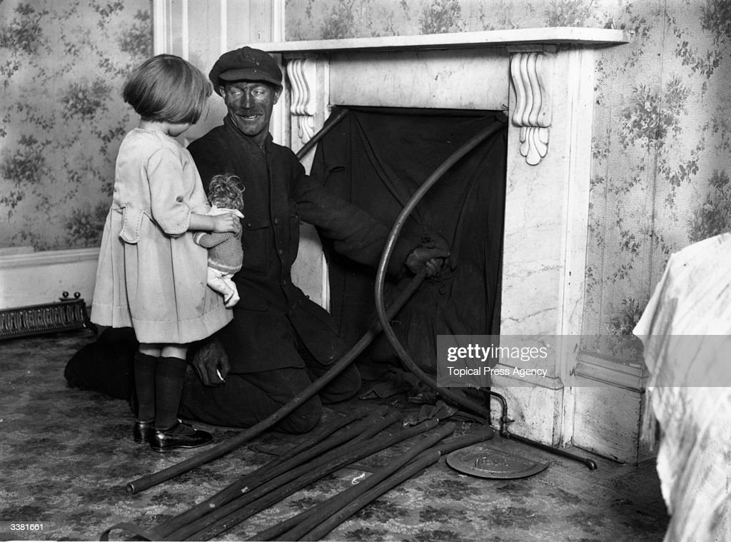 A Little Girl And A Chimney Sweep Talking While He Cleans