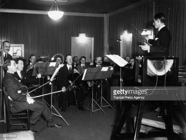 The 'Invisible Band' records music for BBC Radio at their Savoy Hill Studios in London