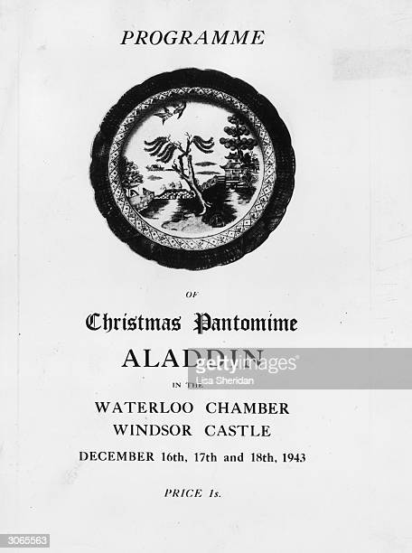 The programme for a royal production of the Christmas pantomime 'Aladdin' at Windsor Castle starring Princess Elizabeth and Princess Margaret Rose as...