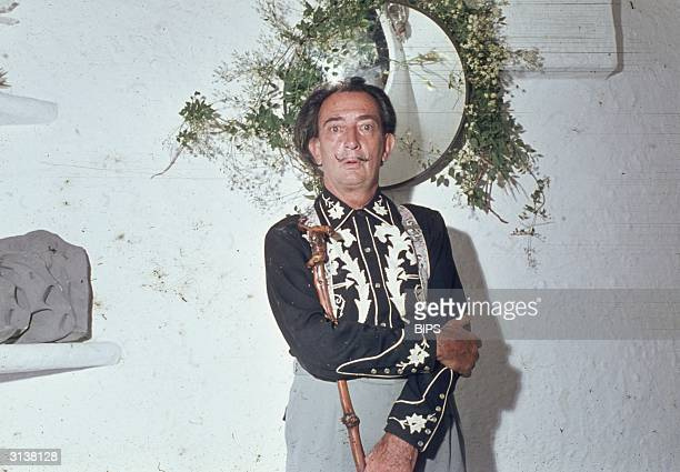 Spanish surrealist artist Salvador Dali at home