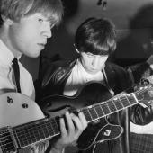 The two guitarists from the Rolling Stones Keith Richards and Brian Jones playing guitar