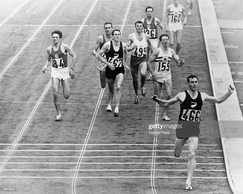 New Zealander Peter Snell winning the gold medal in the 1,500 metres at the Tokyo Olympic Games held at the National Stadium. He also won the 800 metres.