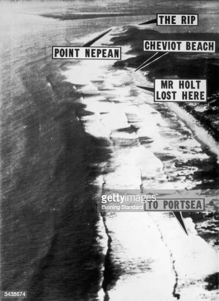 An annotated aerial photograph of the beach near Portsea Australia where Australian prime minister Harold Holt went missing while swimming He was...