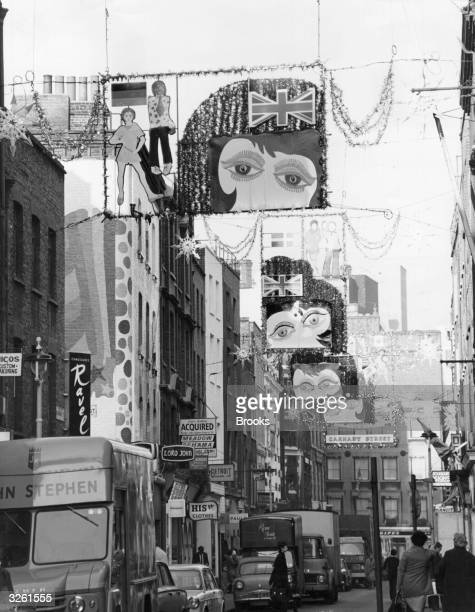 Christmas decorations in Carnaby Street in the swinging sixties