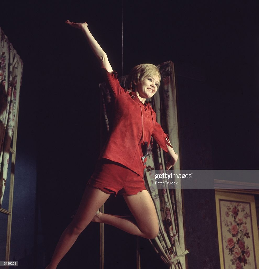 English actress Hayley Mills plays the flying hero in a production of 'Peter Pan' at the New Victoria Theatre, London.