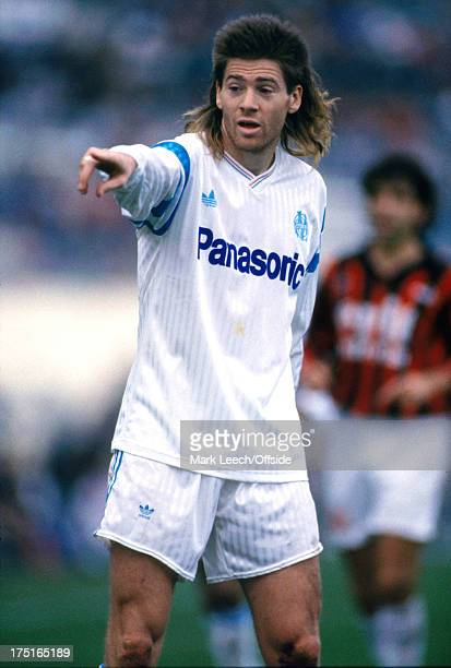 17 December 1989 French Football Marseille v Nice Chris Waddle with his infamous mullet hairstyle