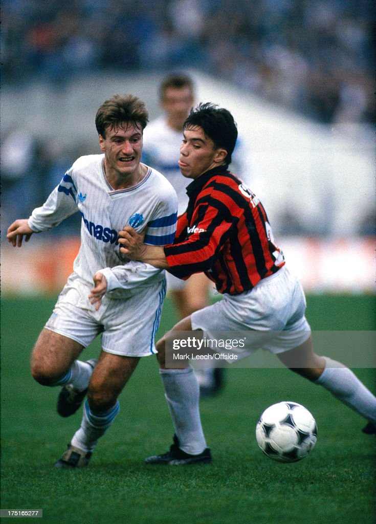17 December 1989 - French Football - Marseille v Nice - Didier Deschamps takes the ball past a Nice defender.