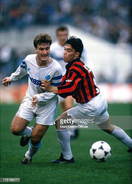 17 December 1989 French Football Marseille v Nice Didier Deschamps takes the ball past a Nice defender