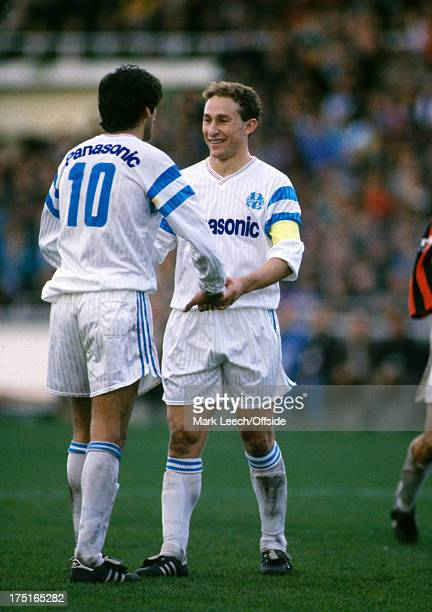 17 December 1989 French Football Marseille v Nice JeanPierre Papin congratulates Enzo Francescoli after a Marseille goal