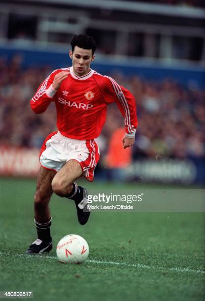 26 December 1991 Football League Oldham Athletic v Manchester United Ryan Giggs in action for United