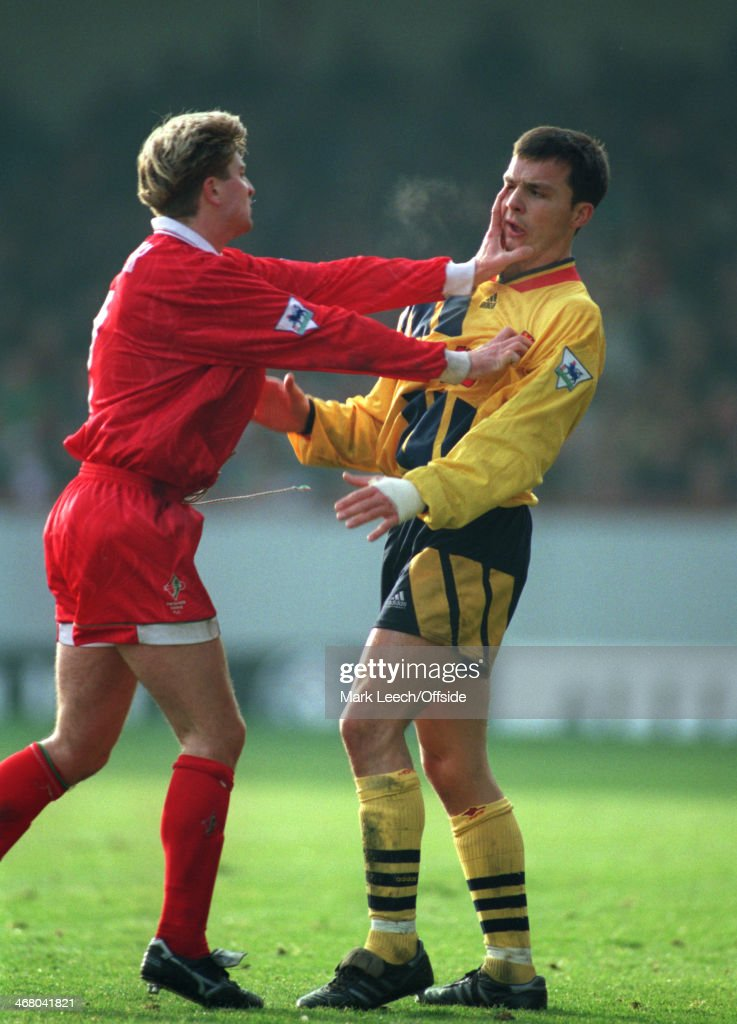 27 December 1993 Premier League Football Swindon Town v Arsenal John Moncur of Swindon pushes his hand into the face of David Hillier of Arsenal