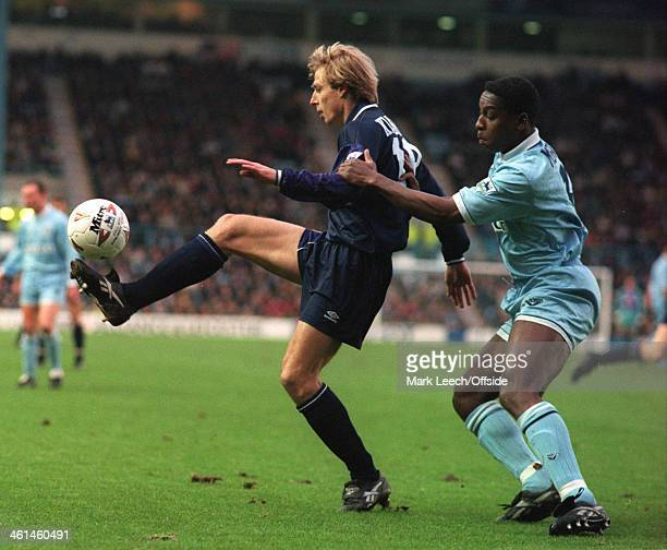 31 December 1994 English Football League Division One Coventry City v Tottenham Hotspur Jurgen Klinsmann controls the ball under pressure from Steve...