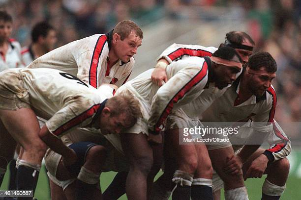 10 December 1994 International Rugby Union England v Canad England forward Dean Richards stands at the back of the scrum
