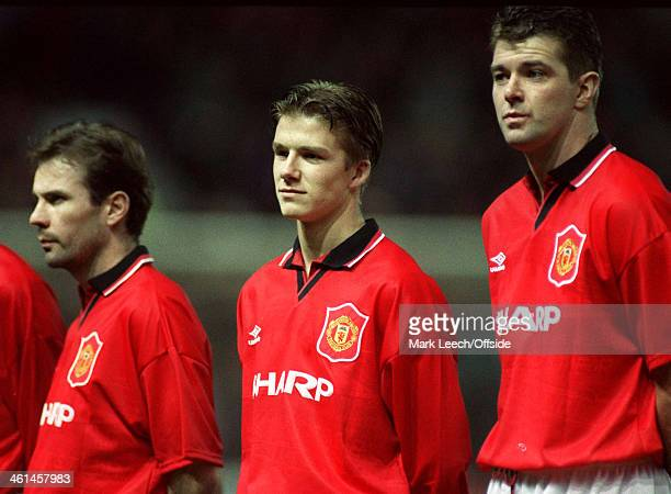 07 December 1994 UEFA Champions League Manchester United v Galatasaray David Beckham lines up next to Brian McClair and Gary Pallister on his...