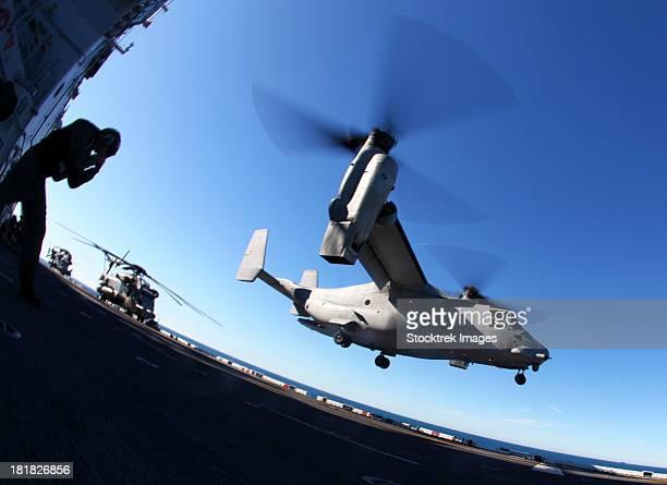 December 2, 2011 - An MV-22 Osprey lands aboard the USS Iwo Jima.