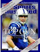 December 20 2004 Sports Illustrated Cover Football Closeup of Indianapolis Colts QB Peyton Manning during game vs Tennessee Titans Indianapolis IN...