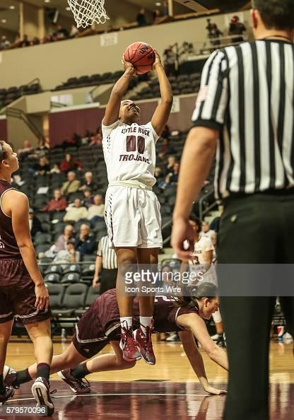 Arkansas Little Rock Trojans forward Ronjanae DeGray shoots as a Missouri State Bears defender falls during an NCAA basketball game between the...