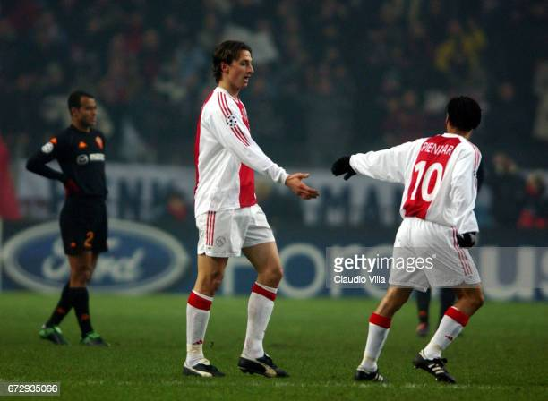 Zlatan Ibrahimovic of Ajax celebrates after the goal during the CHAMPIONS LEAGUE Group B stage 2 match between AJAX and ROMA played at AJAX ARENA...
