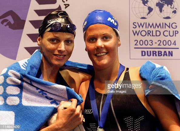 7 December 2003 FINA Swimming World Cup Durban South Africa 200m Womans backstroke 1st Melissa Corfe and 3rd Charlene Wittstock both South African...
