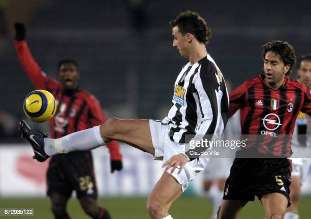Zlatan Ibrahimovic of Juventus in action during the italian Serie A 2004/2005 16 th round macht played between Juventus Turin and Milan at Delle Alpi...