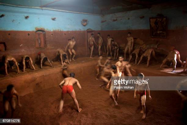 Kushti wrestlers training at a Akhada or wrestling schools in the town of Kolhapur in India 13 December 2009 Kushti is an ancient version of...