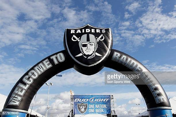 Oakland Raiders Logo during the NFL regular season game between the Indianapolis Colts and the Oakland Raiders at Oakland Coliseum in Oakland CA